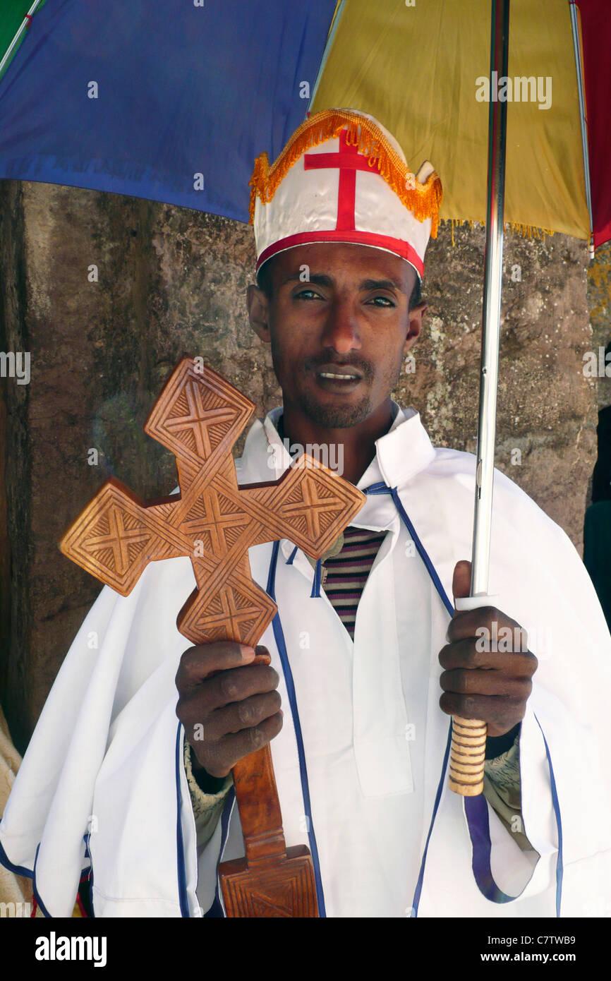 Africa, Ethiopia, Lalibela, priest close up - Stock Image