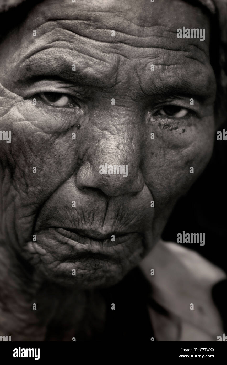 Nepal, Katmandu. Portrait of a senior woman - Stock Image