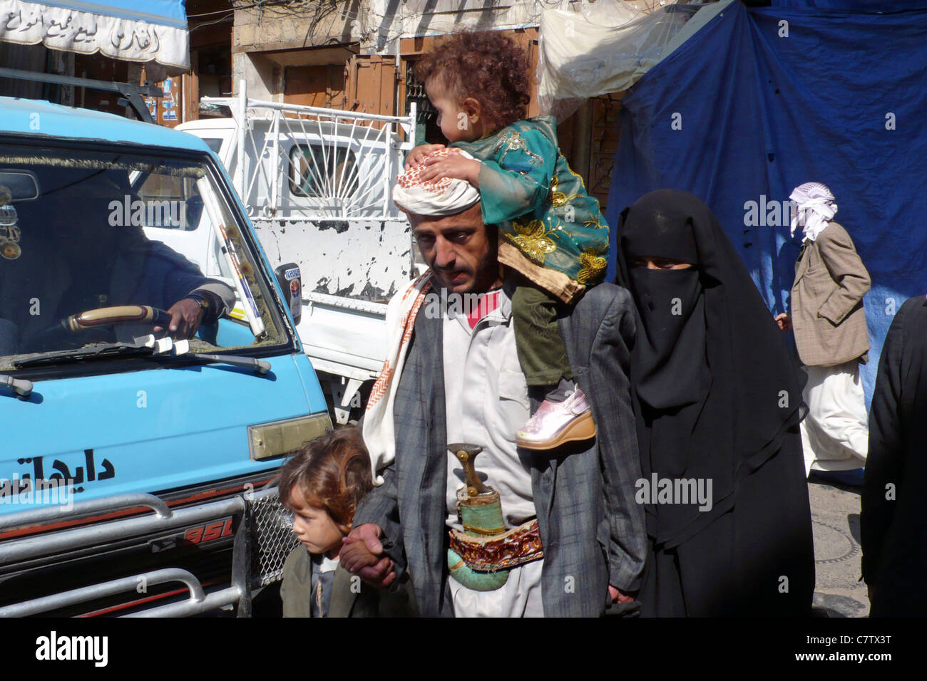 Yemen, Sana'a. Local family - Stock Image
