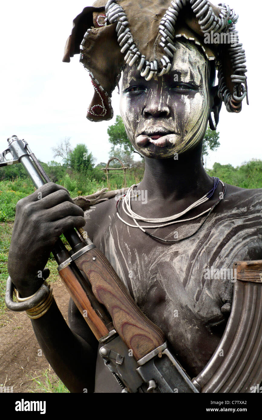 Africa, Ethiopia, South Omo, Mago National Park, Mursi woman with body painting in village - Stock Image