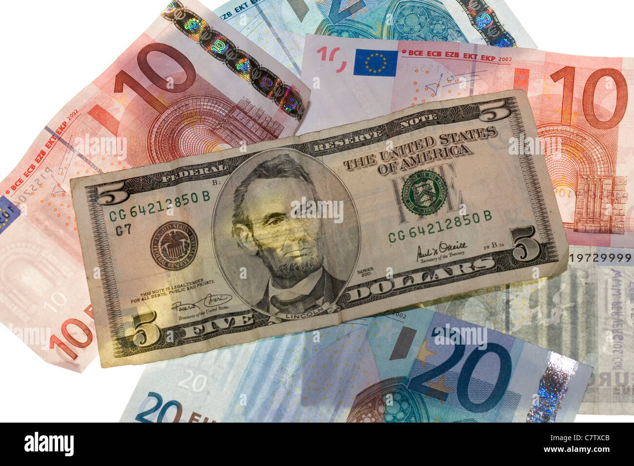 Close-up of US and Euro currency - Stock Image