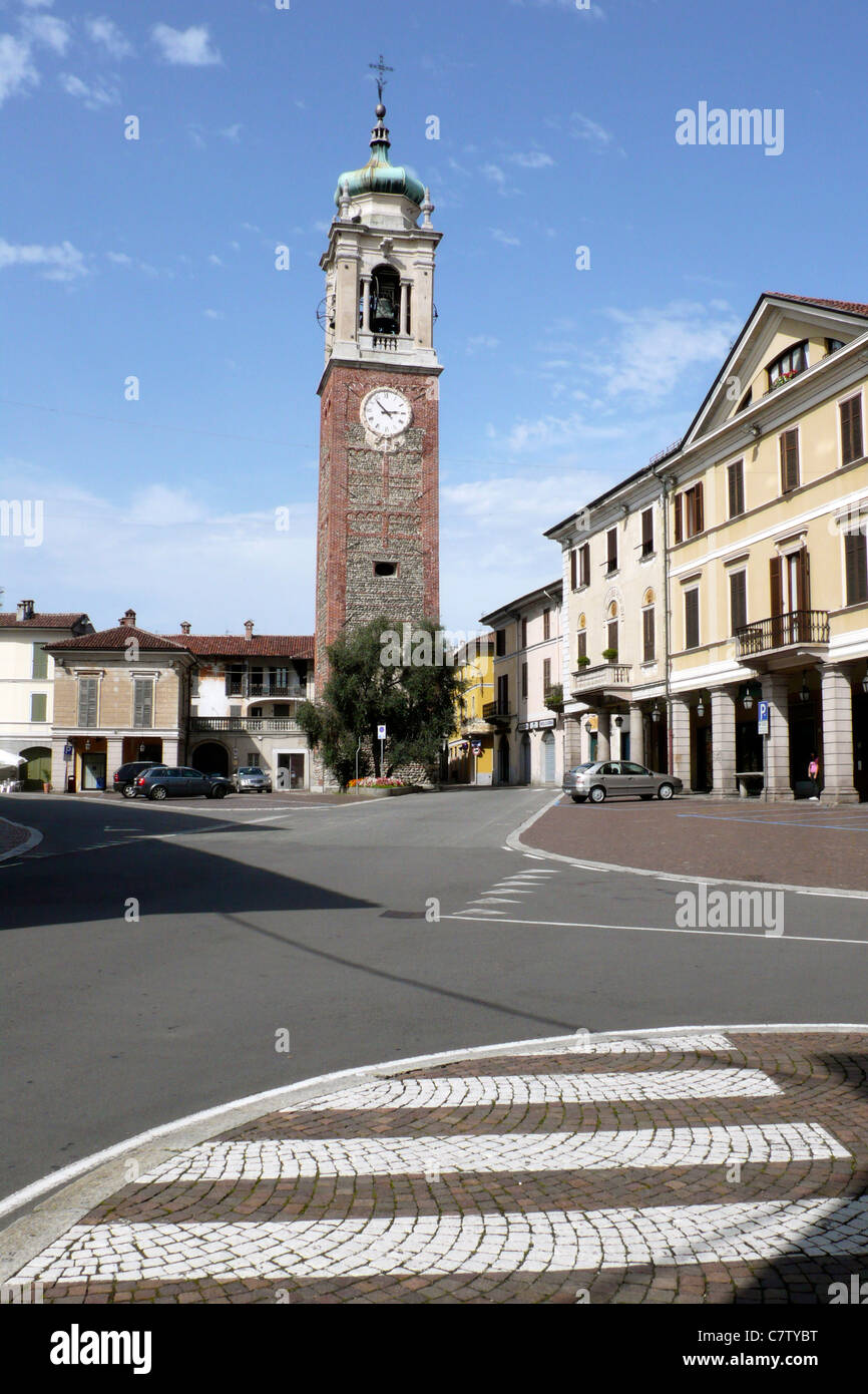 Italy, Pidmont, Oleggio, Piazza Martiri della Libertà - Stock Image