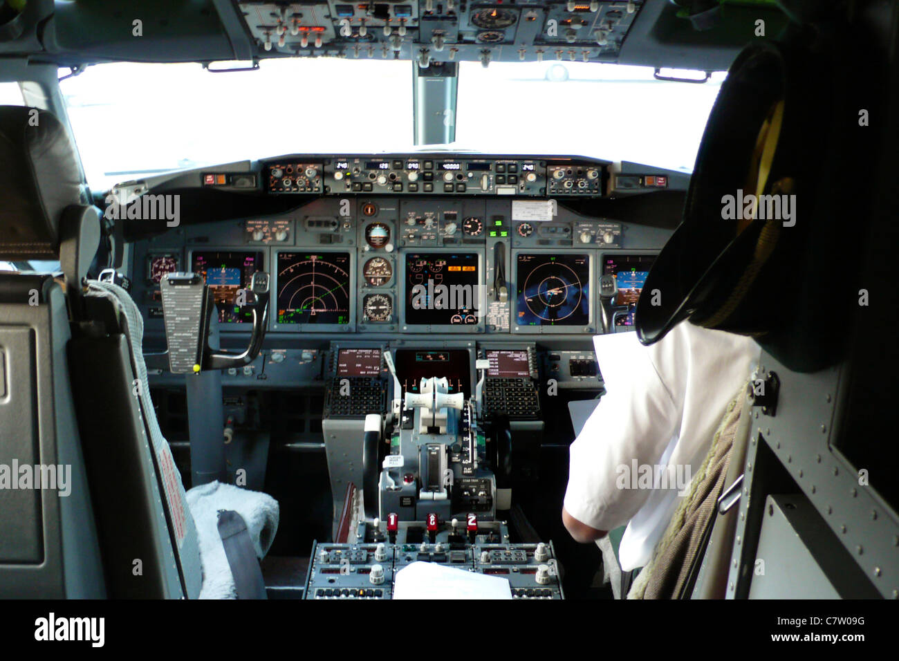 Boeing 737 aircraft cockpit and instrument panel of Stock