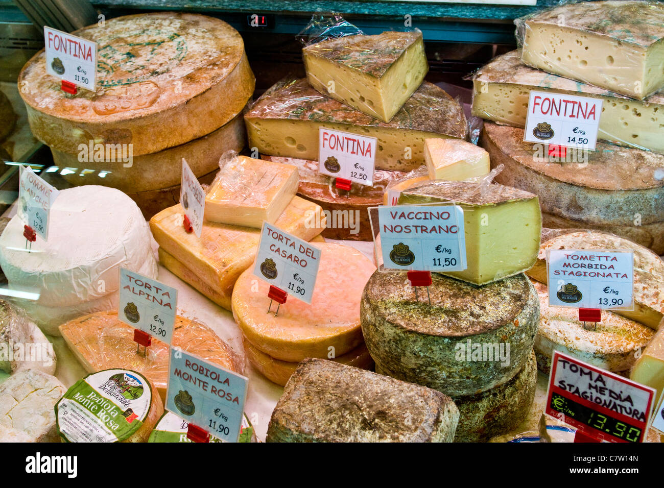 Italian cheese selection in delicatessen - Stock Image