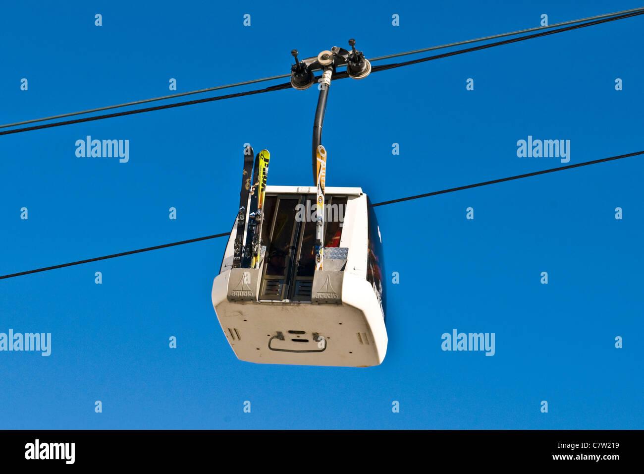 Italy, Aosta Valley,Gressoney-la-Trinite, cableway - Stock Image