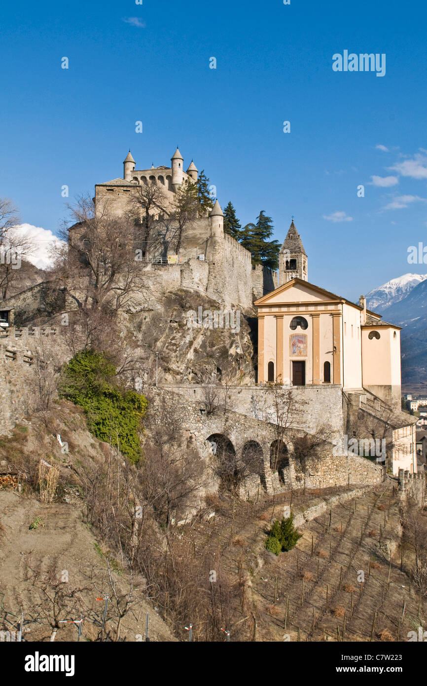 Italy, Aosta valley, Castle St. Pierre - Stock Image