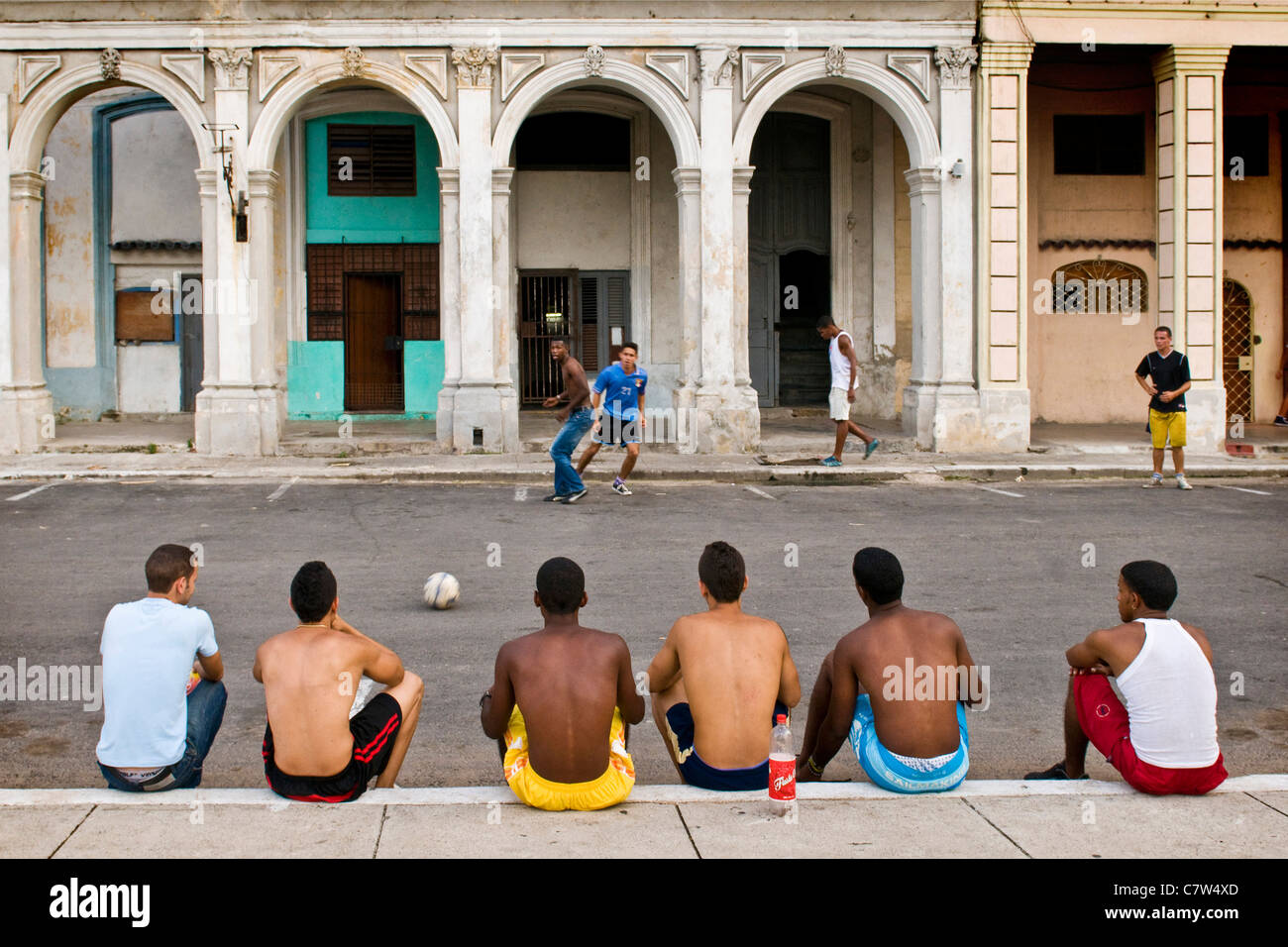 Cuba, Havana,football match in the city center - Stock Image