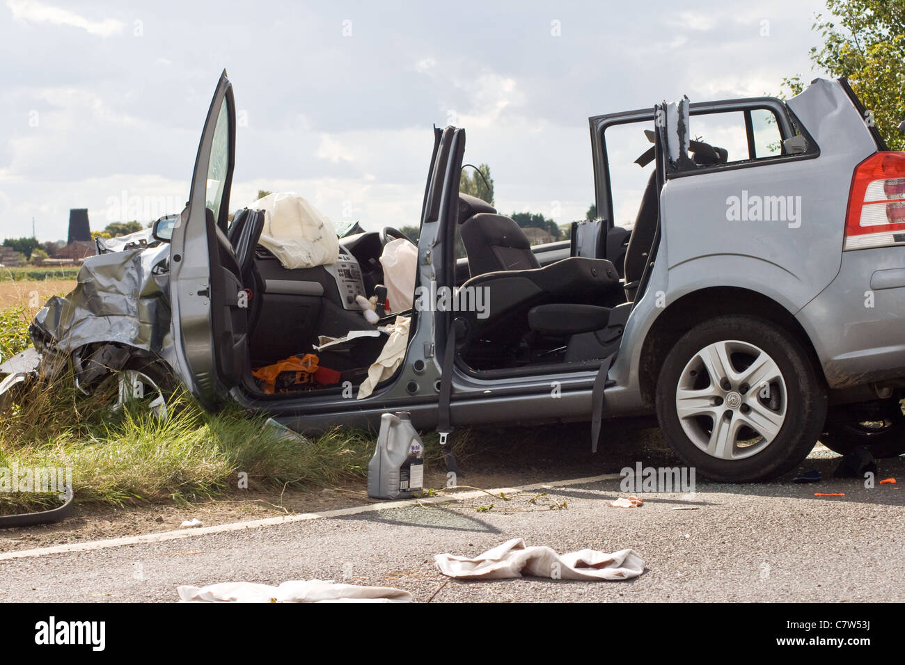 RTC,Road,Traffic,Collision,Wreckage,Graphic,Airbag, - Stock Image