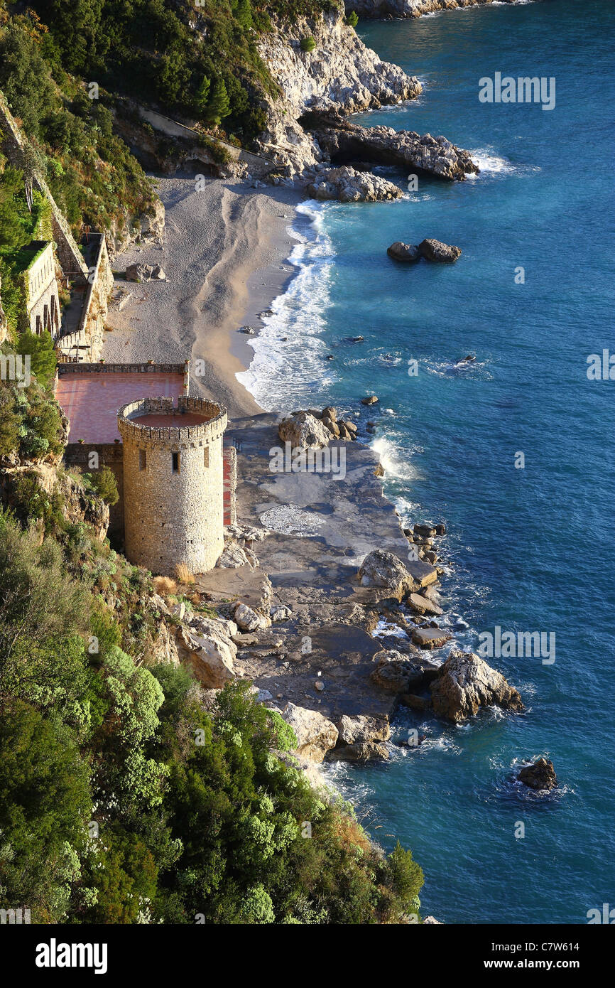 Italy, Campania, The beach of Conca dei Marini along the Amalfitana coast - Stock Image