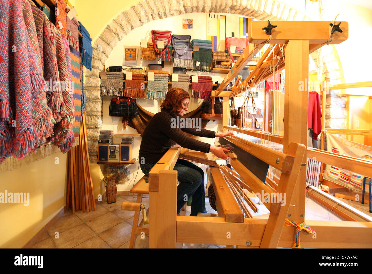 Italy, Campania, Bisaccia, textile handicrafts - Stock Image