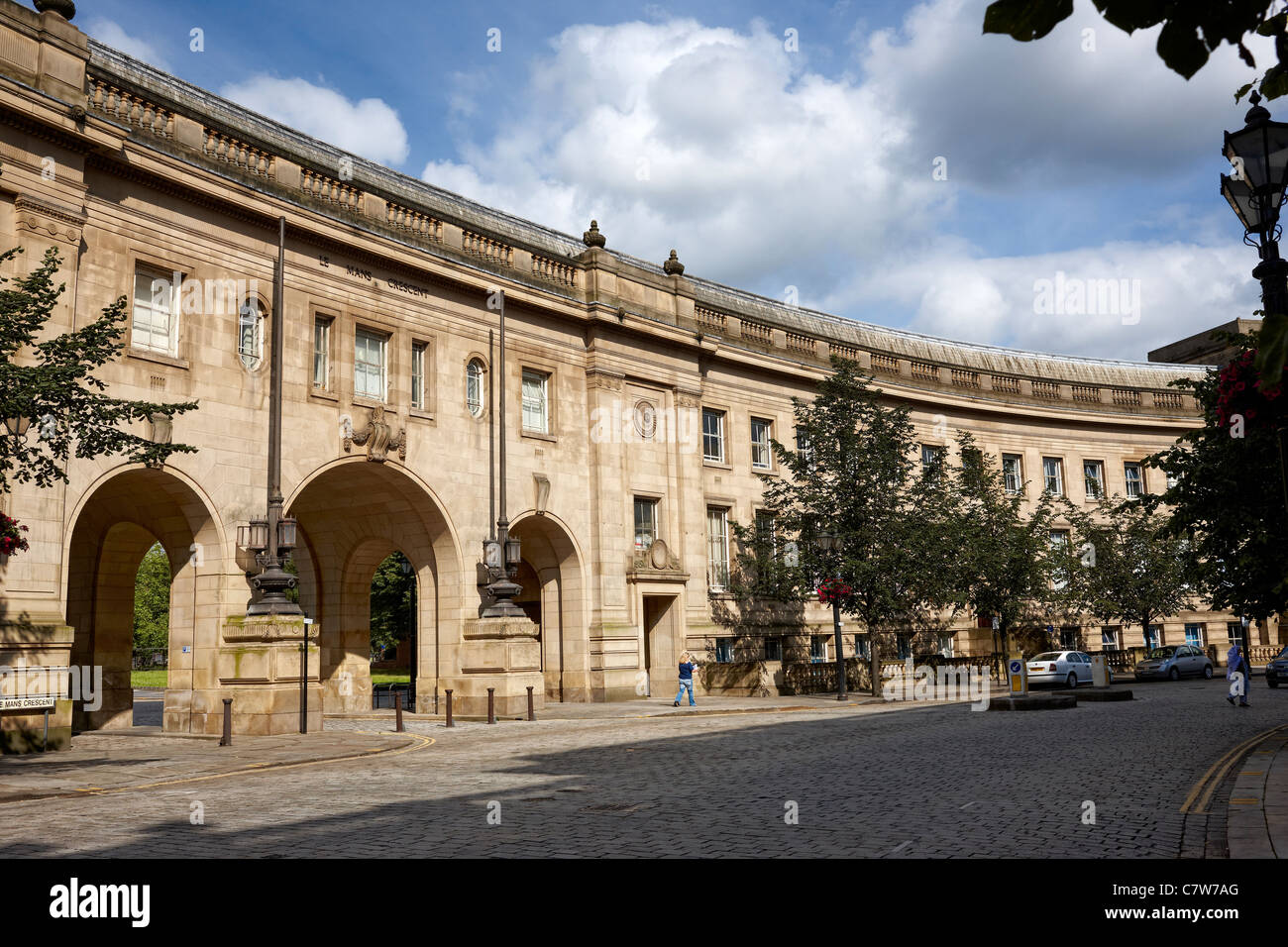 Le Mans Crescent, Bolton UK. Built during the 1930's and renamed in the 1970's in honour of Bolton's - Stock Image