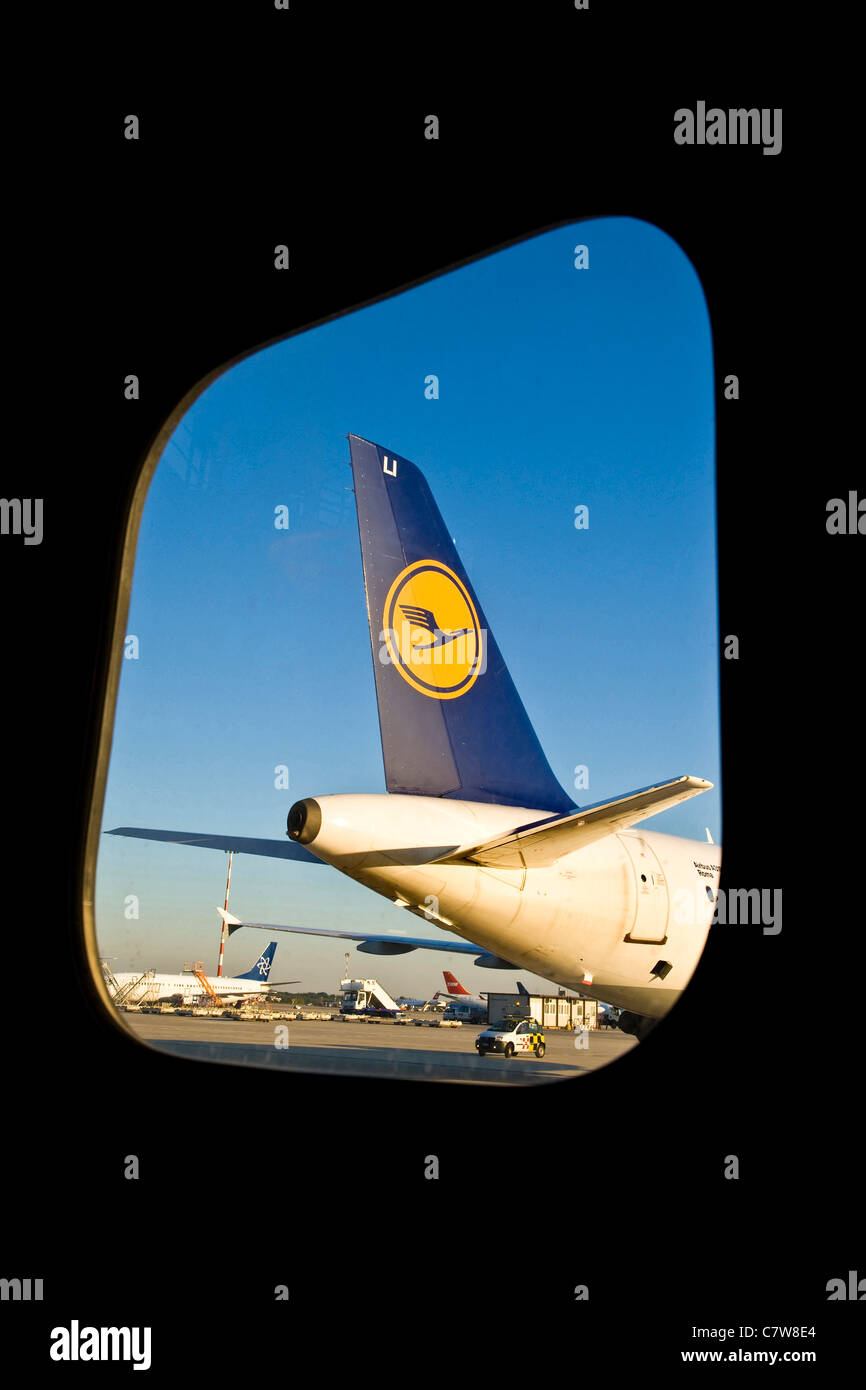 Italy, Lombardy, Malpensa Airport, Lufthansa airliner - Stock Image