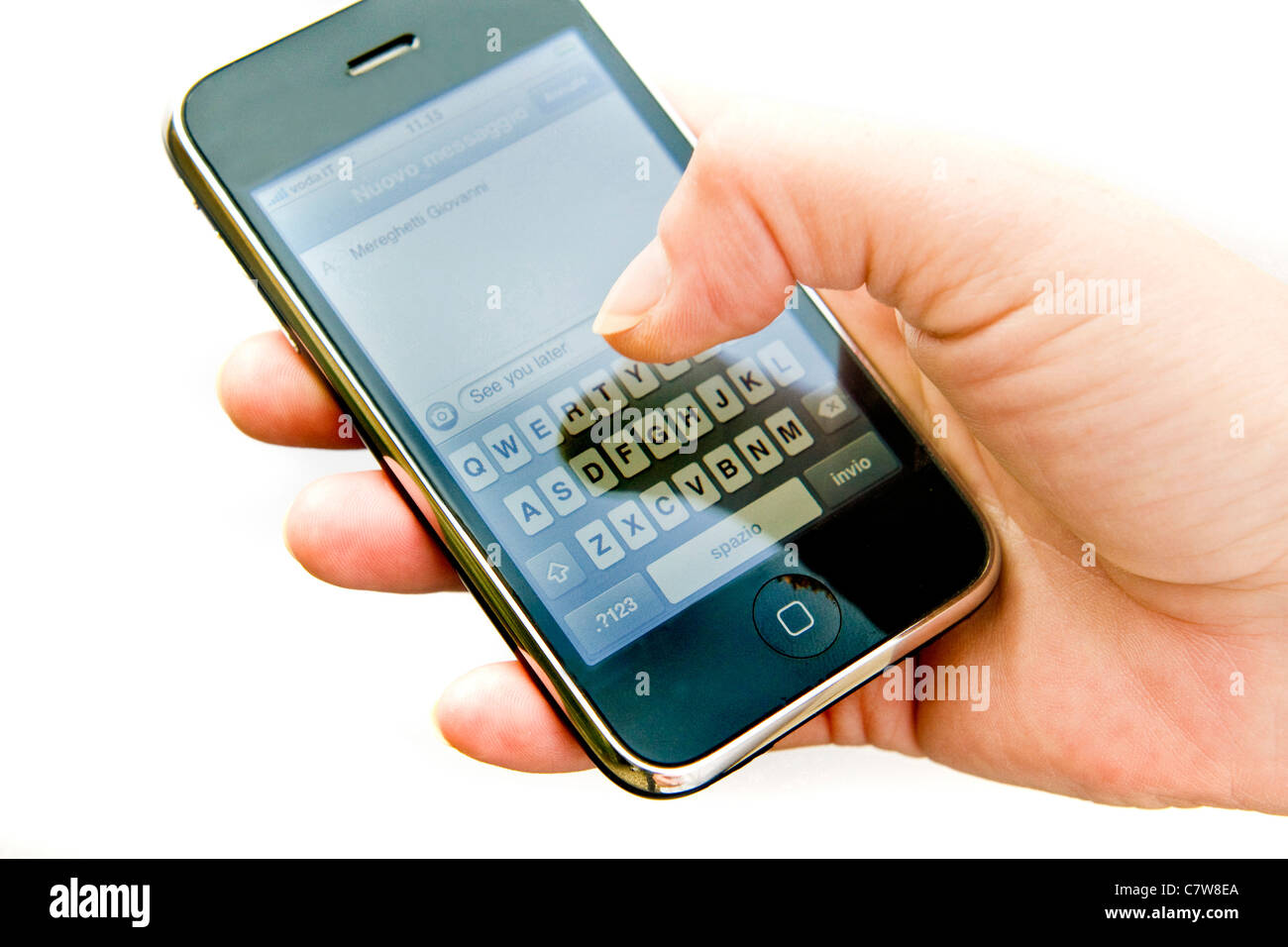 Close up of woman's hand using palmtop - Stock Image