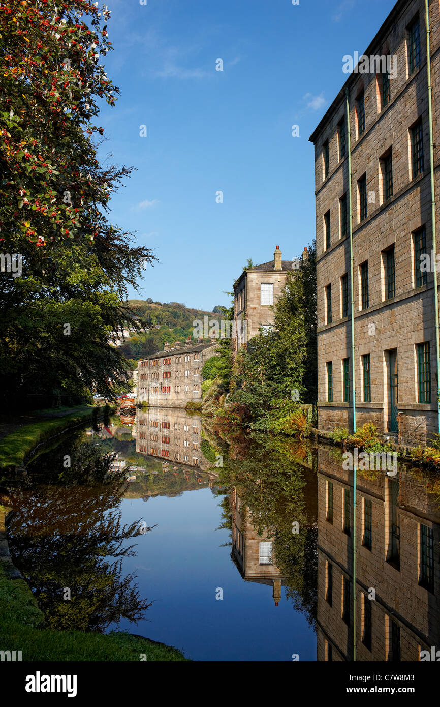 Canal side buildings on the Rochdale Canal at Hebden Bridge, West Yorkshire UK - Stock Image