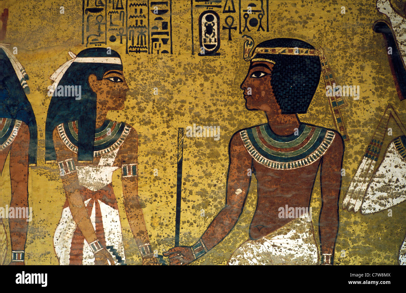 Wall paintings in the tomb of Tutankhamun, Valley of the Kings, Egypt - Stock Image