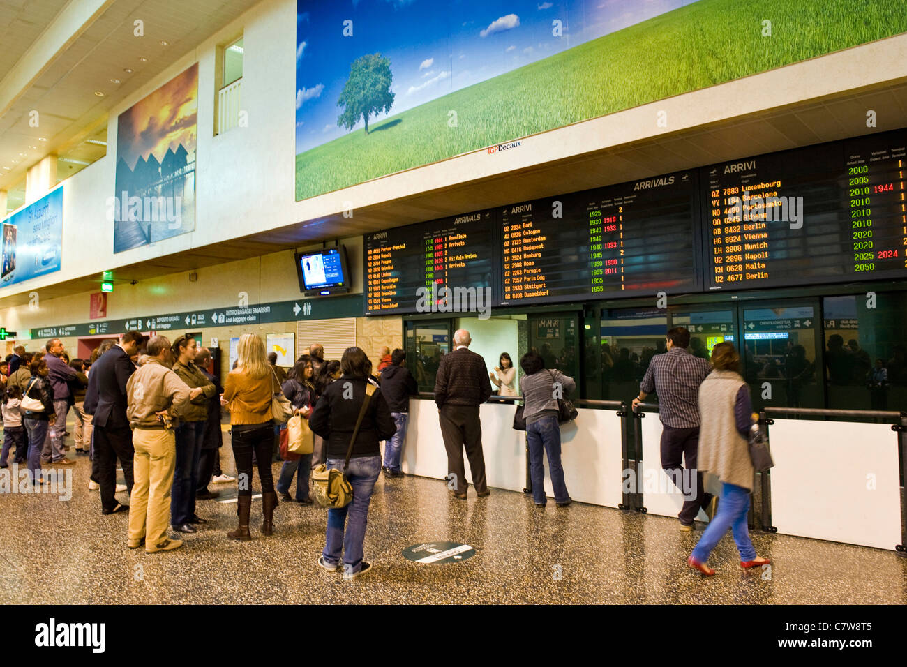 Italy, Lombardy, Malpensa airport, arrivals hall - Stock Image