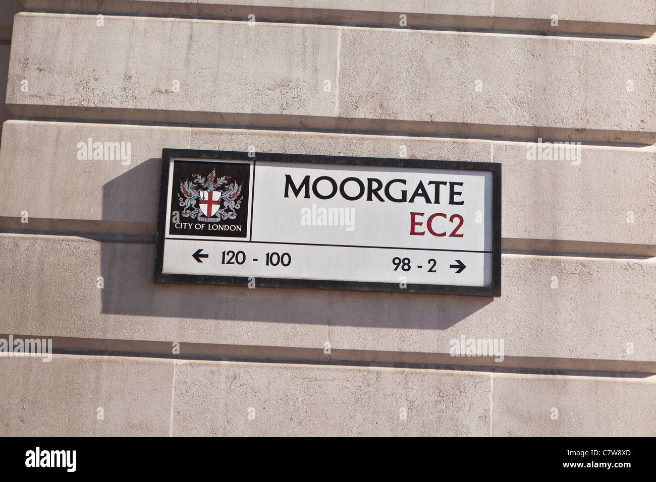 Moorgate Street sign, London, England - Stock Image