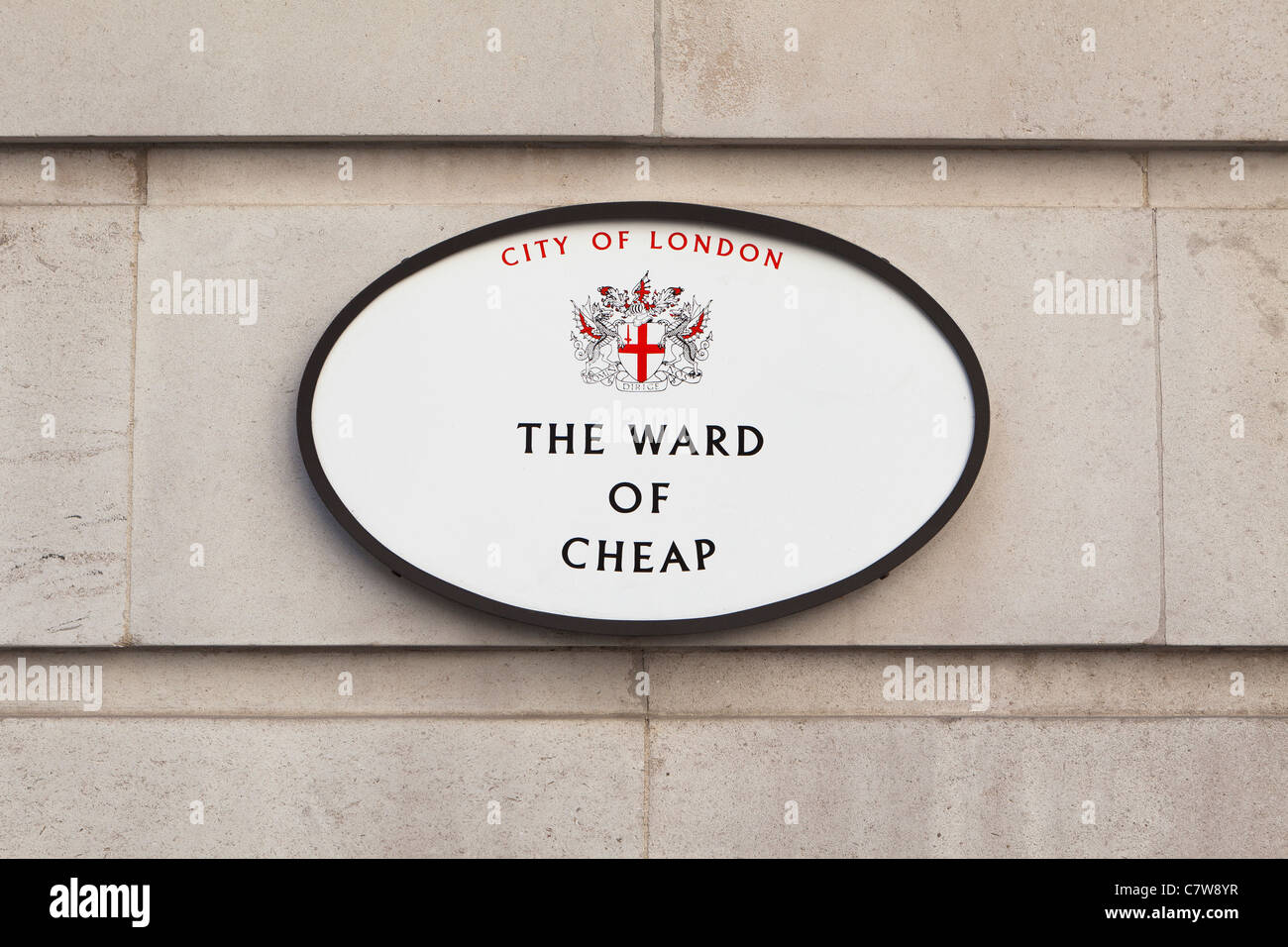 The Ward of Cheap sign, London, England - Stock Image