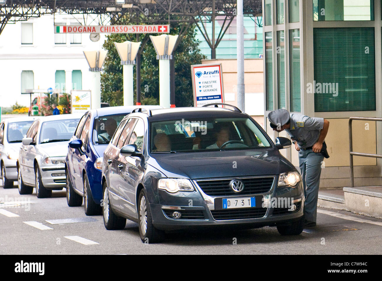 Lombardy, Italy and Switzerland customs border at Chiasso - Stock Image
