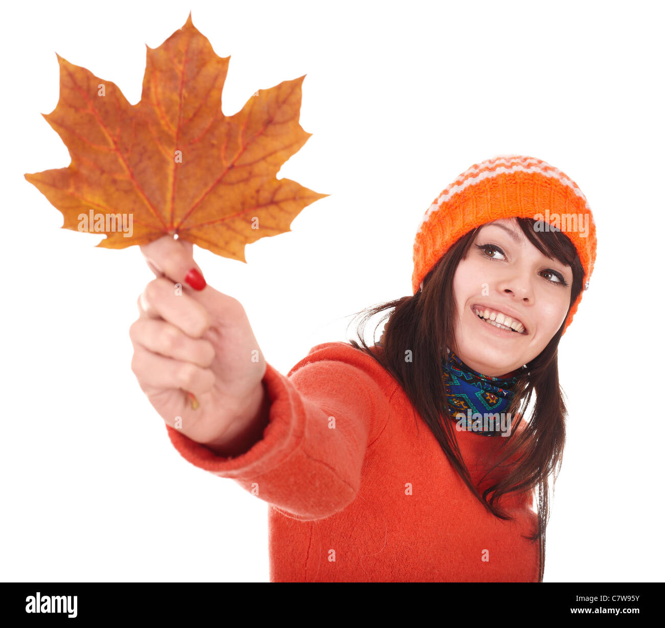 Young woman in autumn orange leaves. Outdoor. - Stock Image