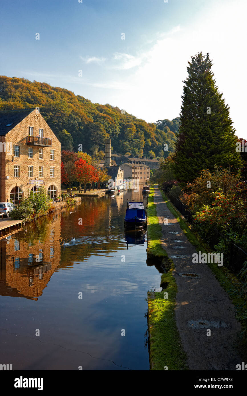 Rochdale Canal at Hebden Bridge, West Yorkshire - Stock Image