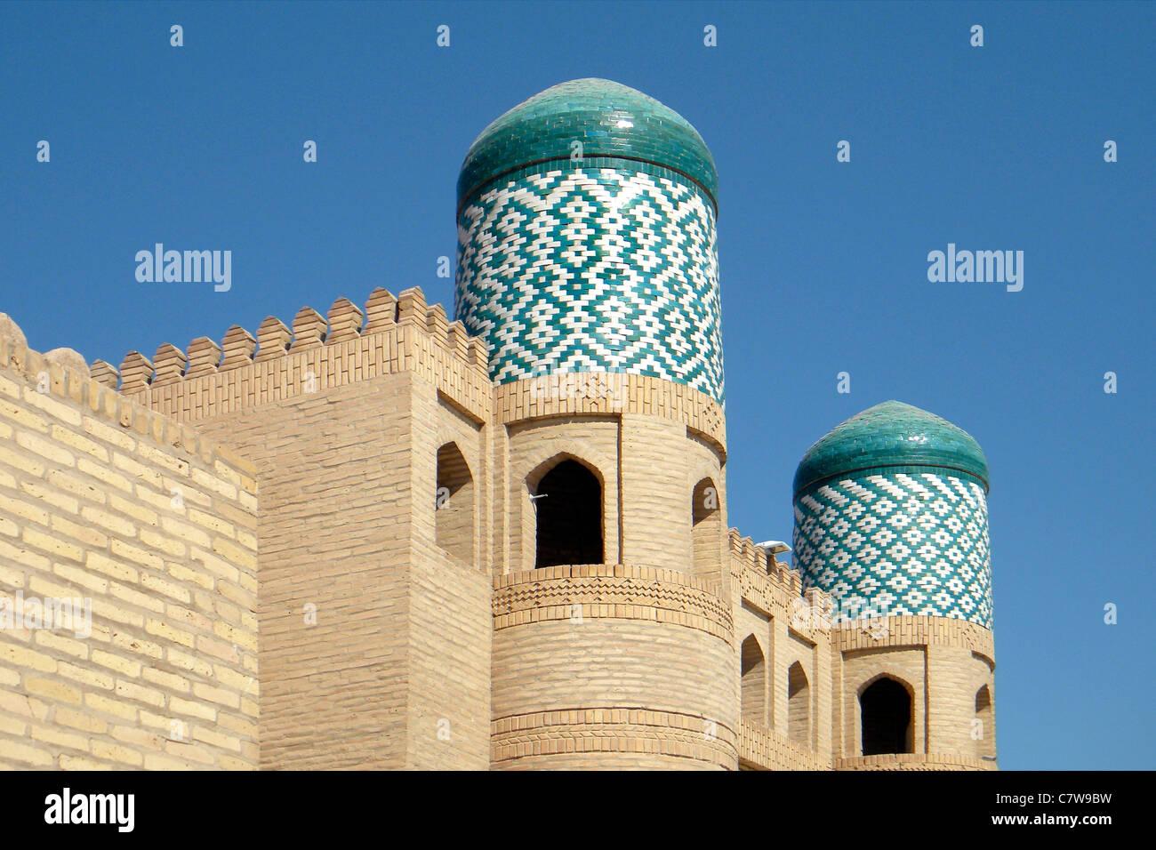 Uzbekistan, old town of Khiva, Allakuli madrassa - Stock Image