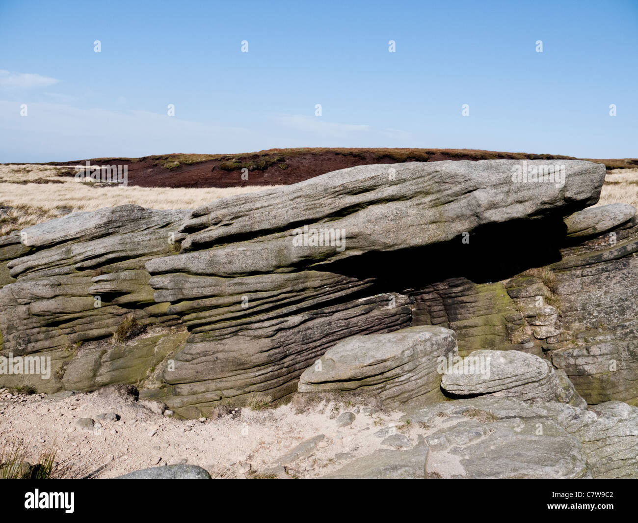 Gritstone eroded by weather, Kinder Scout, High Peak, Derbyshire, England, UK. - Stock Image
