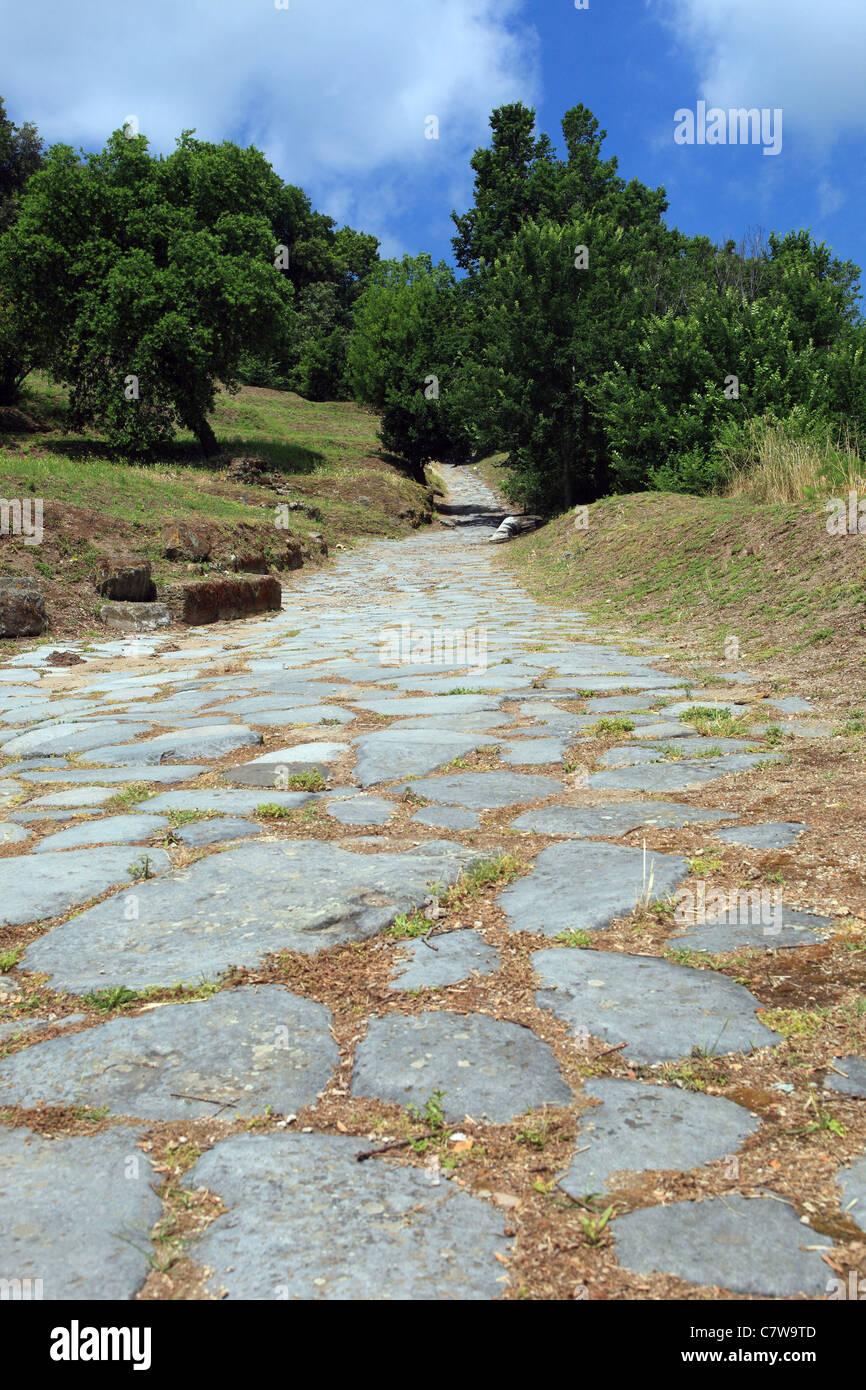 Italy, Campania, Cuma, greek archaelogical road Via Sacra - Stock Image