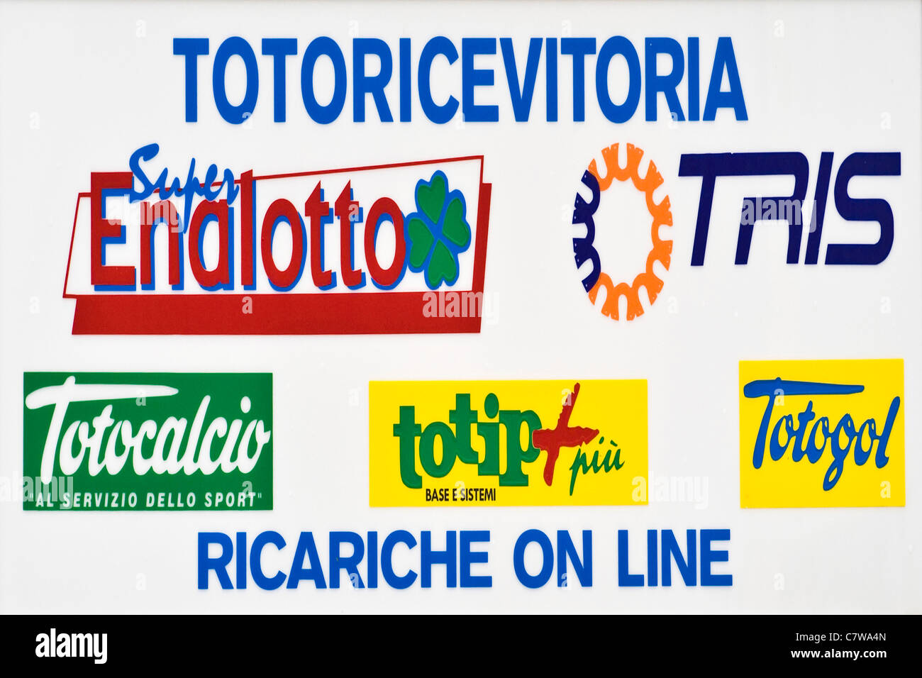 Totocalcio an lotto lottery sign - Stock Image