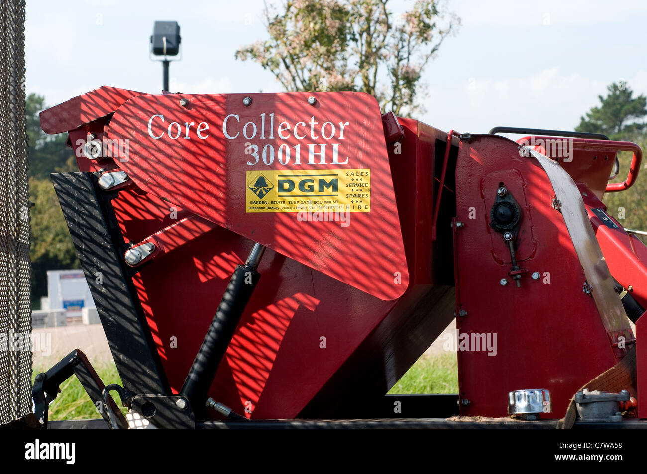 Core collector,  Groundsman Industries specialize in the design and manufacture of Turf maintenance Machinery - Stock Image