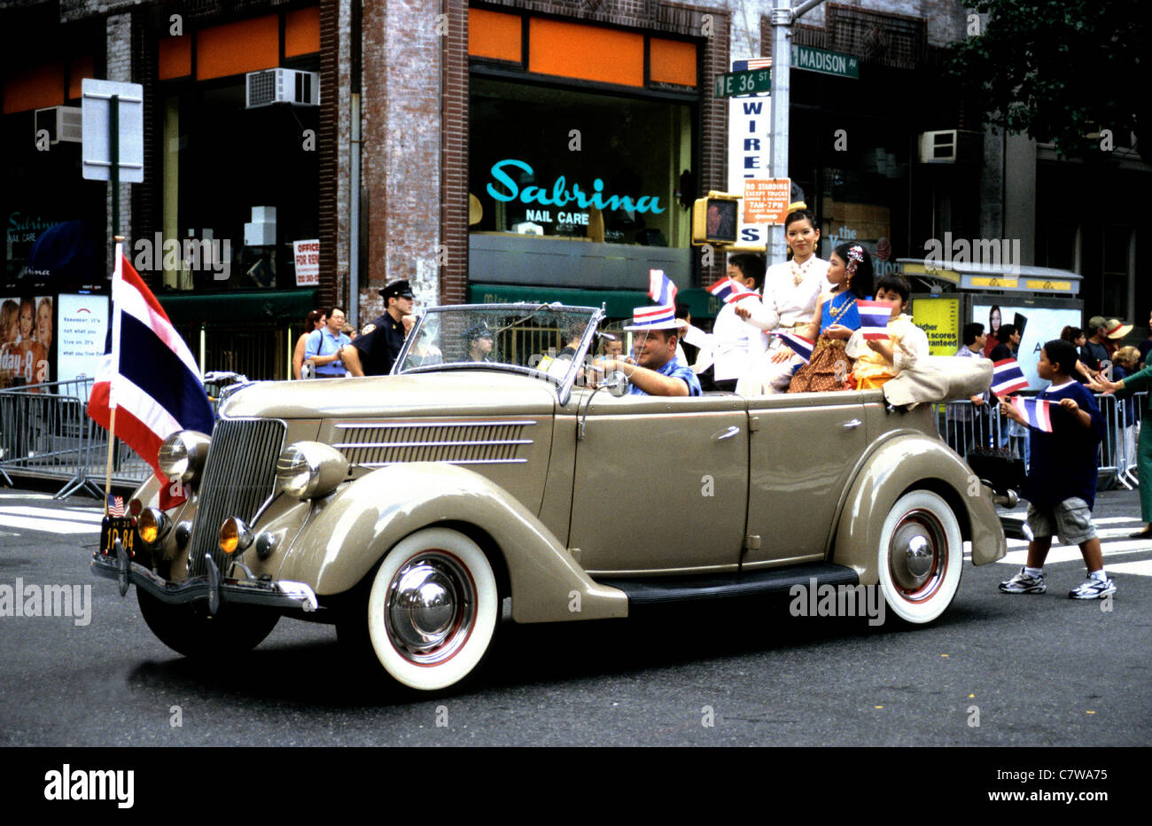 Vintage Ford car in a New York Parade USA - Stock Image