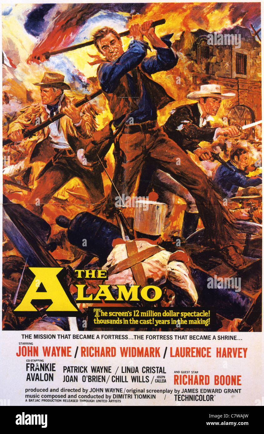the alamo poster for 1960 mgm film with john wayne stock photo 39280497 alamy. Black Bedroom Furniture Sets. Home Design Ideas