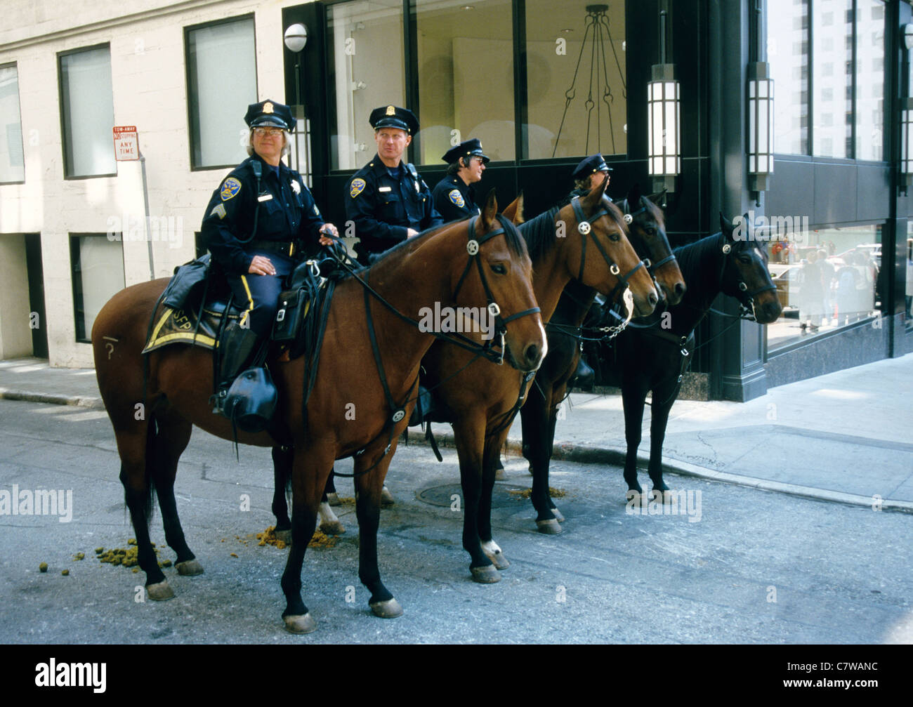 Mounted Police in a San Francisco Street USA - Stock Image