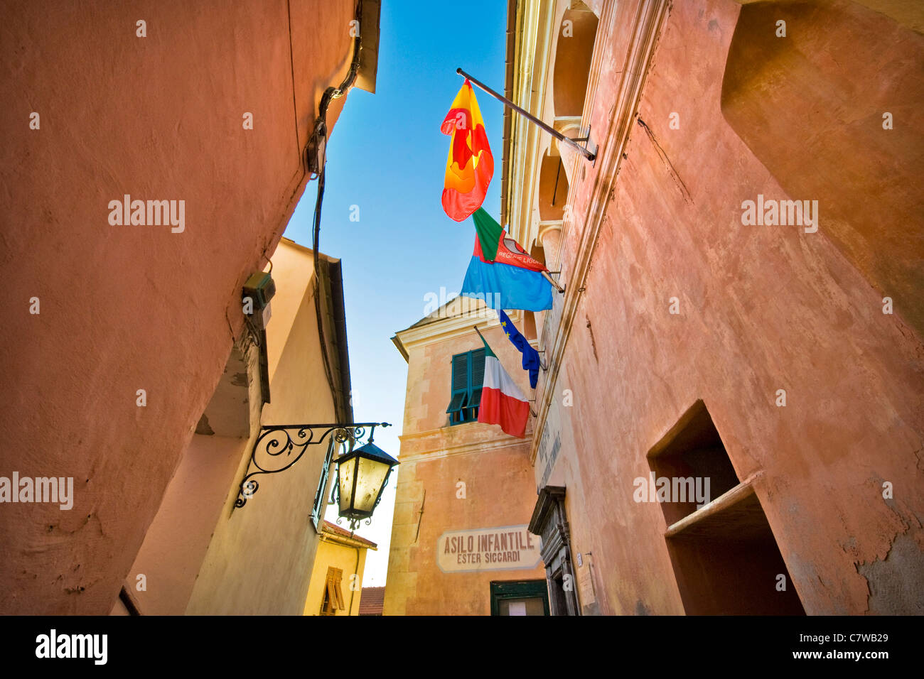 Italy, Liguria, Cervo, buildings, low angle view - Stock Image