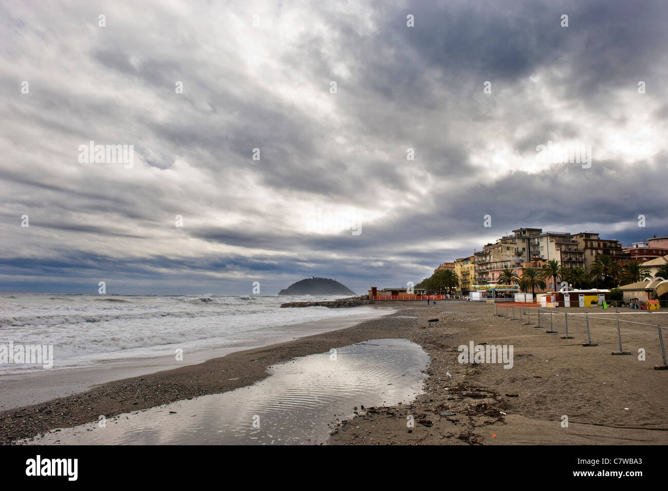 Italy, Liguria, Albenga, the beach - Stock Image