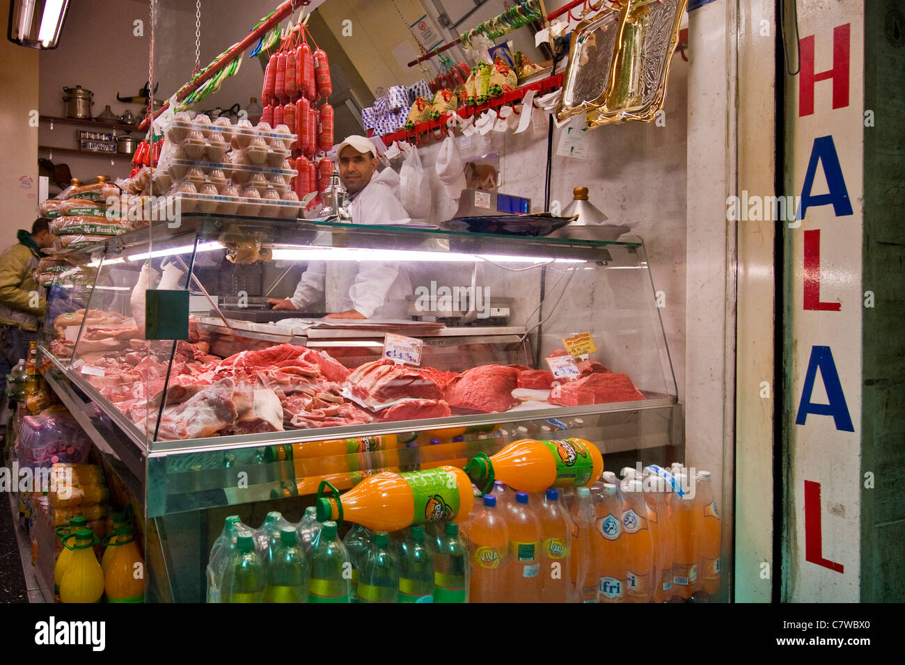 Italy, Liguria, Genoa, islamic butcher's shop - Stock Image