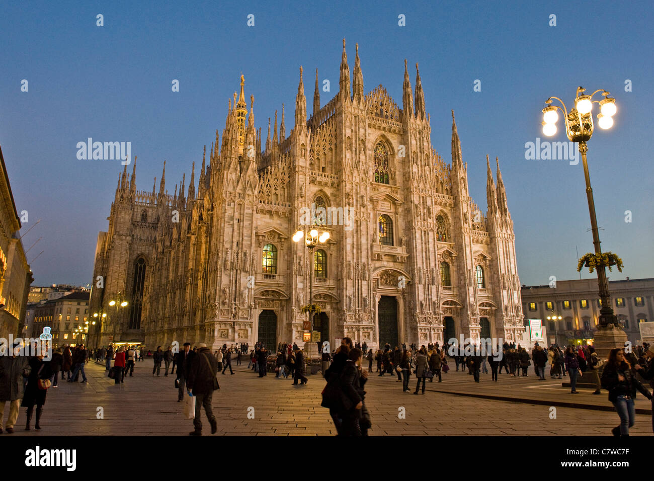 Italy, Lombardy, Milan, the Duomo at dusk - Stock Image