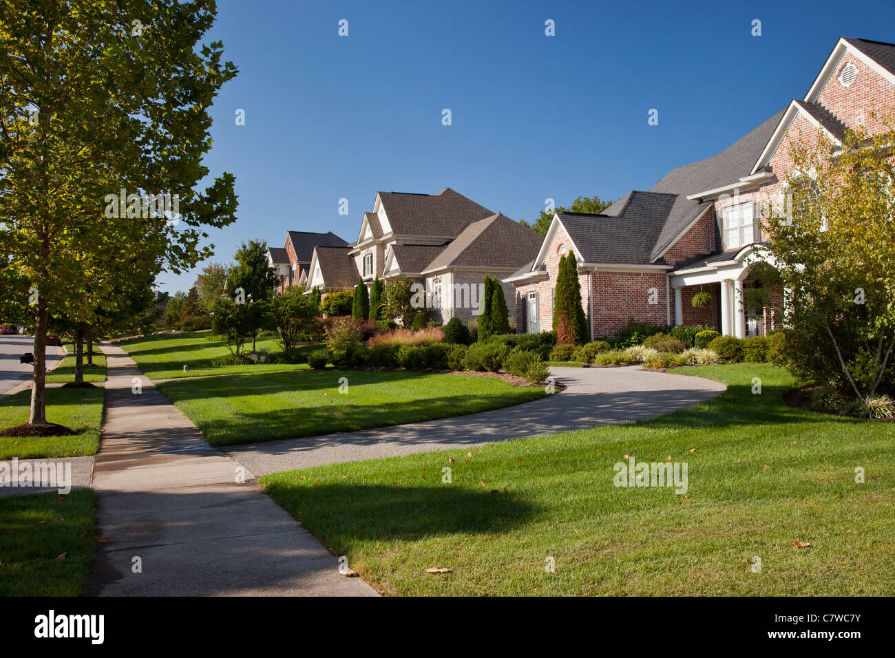 Typical Homes In A Nice Subdivision Near Nashville Tennessee USA