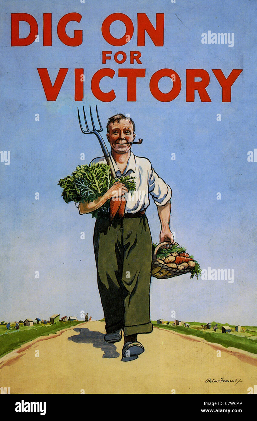 DIG ON FOR VICTORY  British WW2 poster designed by Peter Fraser - Stock Image