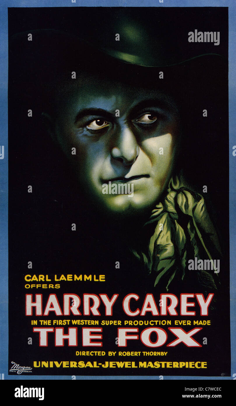 THE FOX Poster for 1921 Universal film with Harry Carey - Stock Image