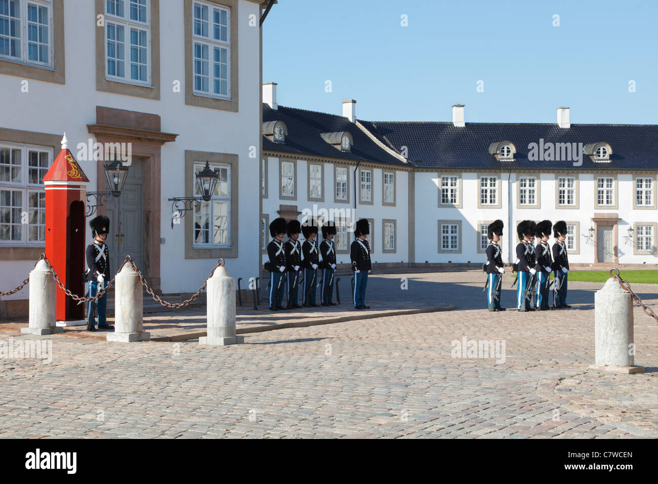 Change of guard by the Royal Danish Life Guards at the Fredensborg Palace near Copenhagen, Denmark - Stock Image