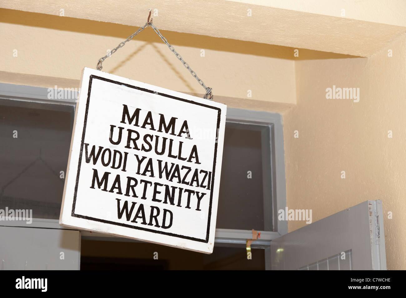 Sign for the 'Mama Ursulla Wodi Yawazazi Maternity Ward' Marangu Hospital, Moshi, Tanzania - Stock Image