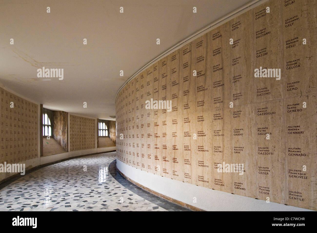 Italy, Trentino Alto Adige, Rovereto, interiors of the military shrine - Stock Image