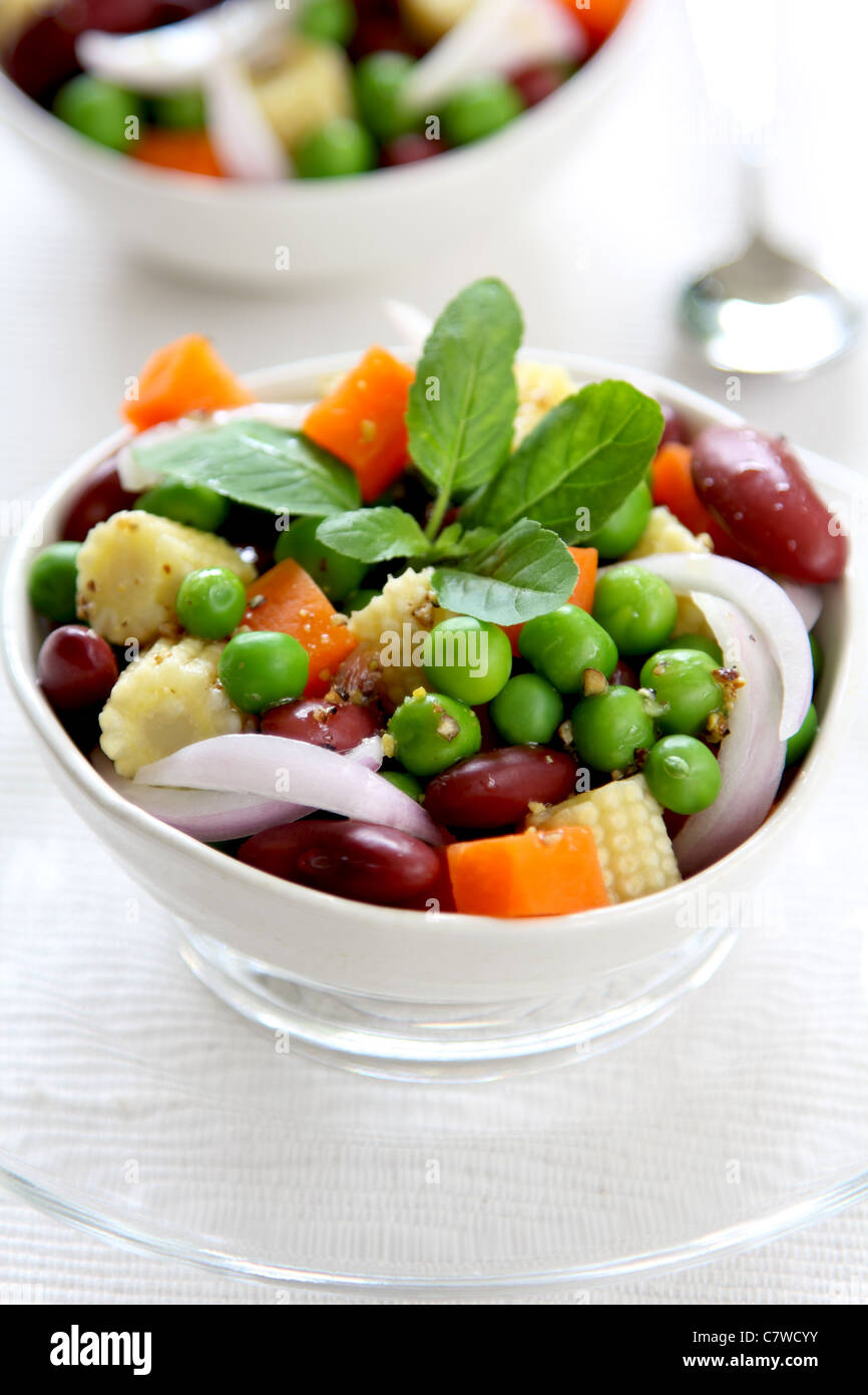 Bean & pea salad in a bowl - Stock Image