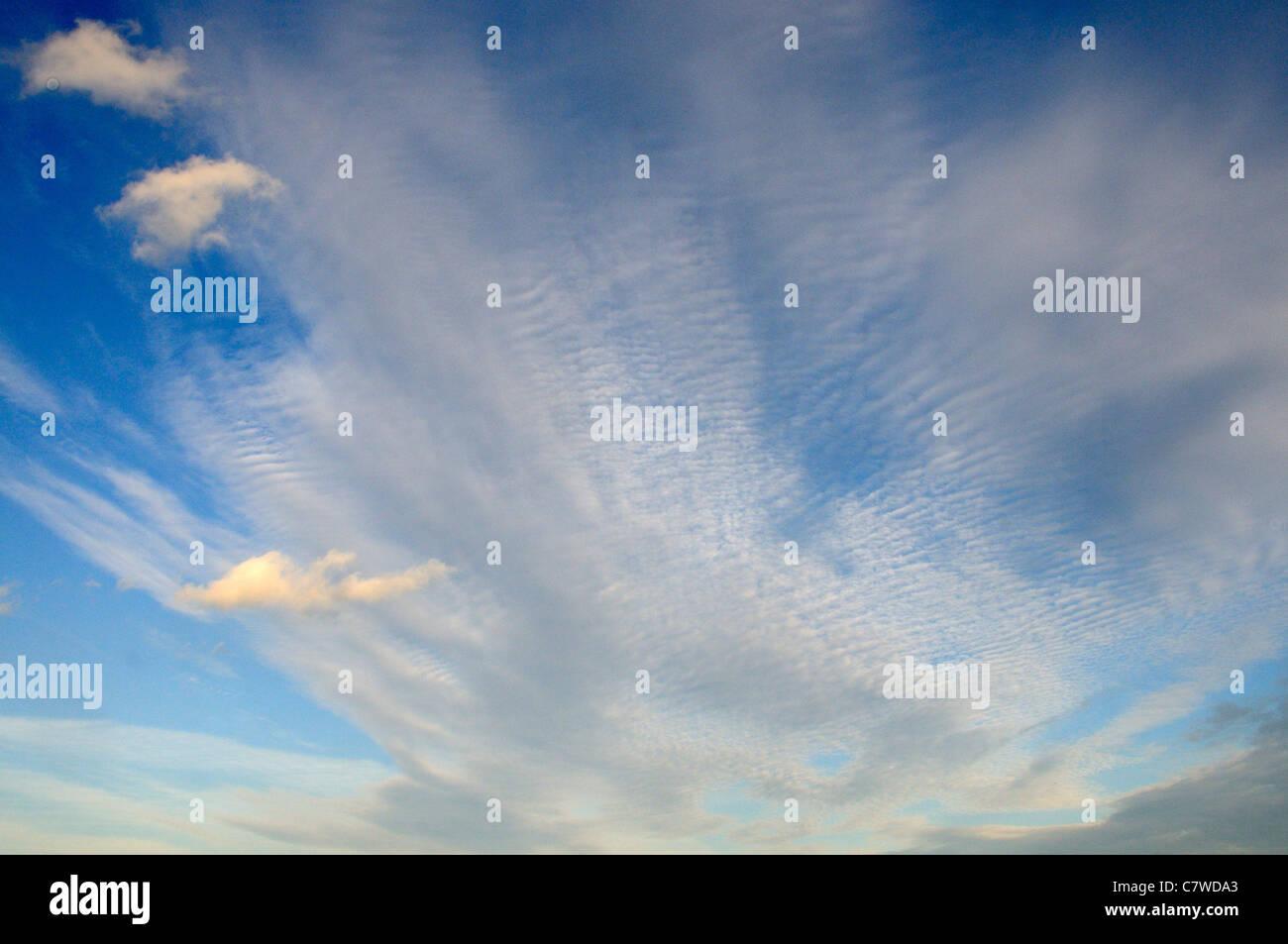 Cloud formation with cirrocumulus cloud, 'mackerel sky' Norfolk, UK, September - Stock Image