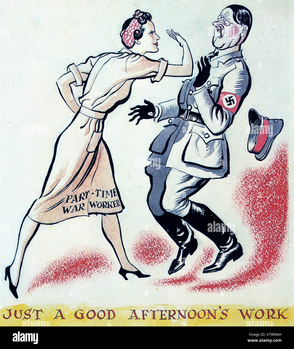 PART TIME WAR WORKER British WW2 poster - Stock Image