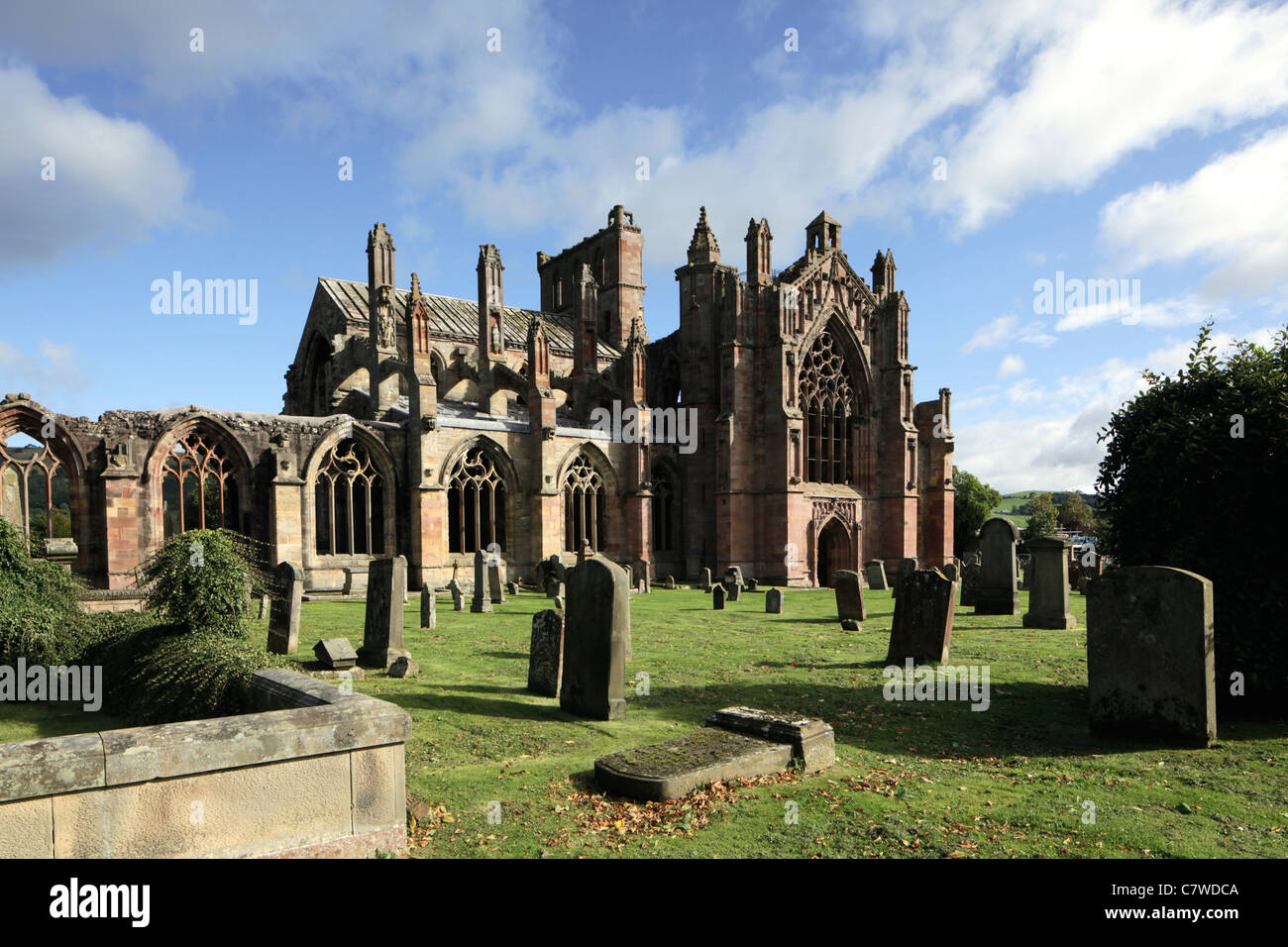 Melrose Abbey in the Scottish Borders - Stock Image