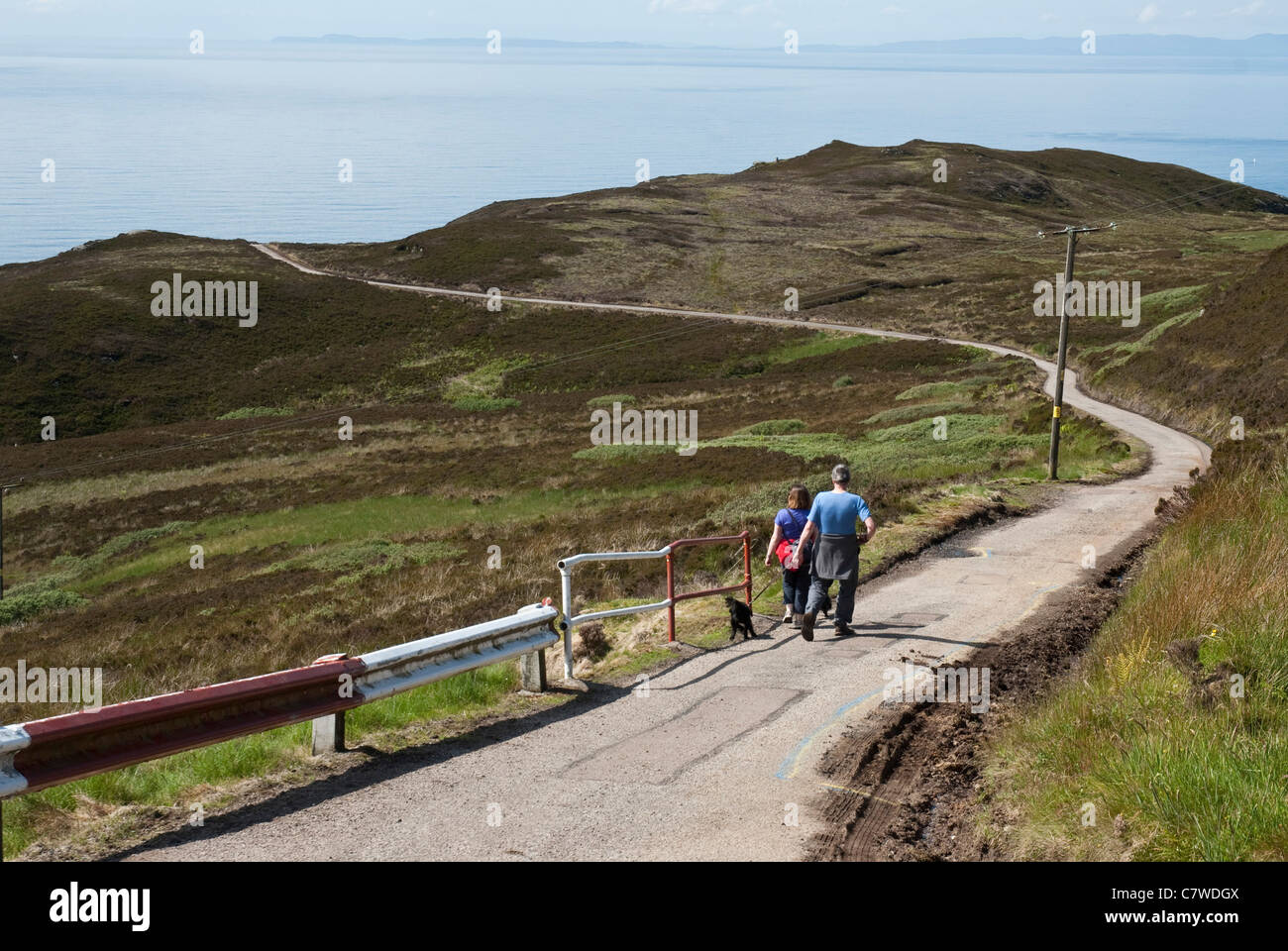 Road down to the Lighthouse, Mull of Kintyre Stock Photo