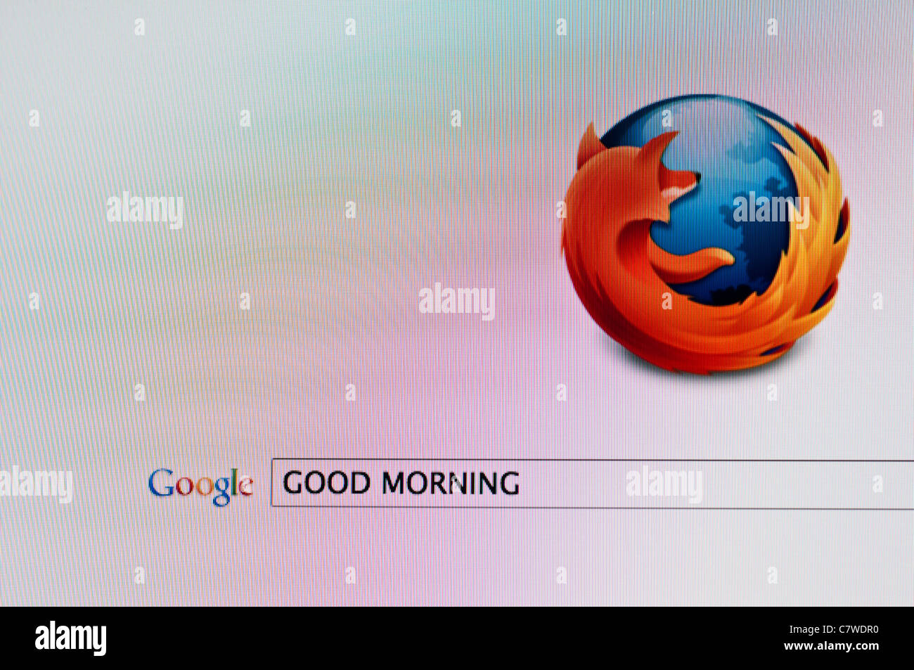 Computer screen with Google search on Firefox browser for 'Good morning' - Stock Image