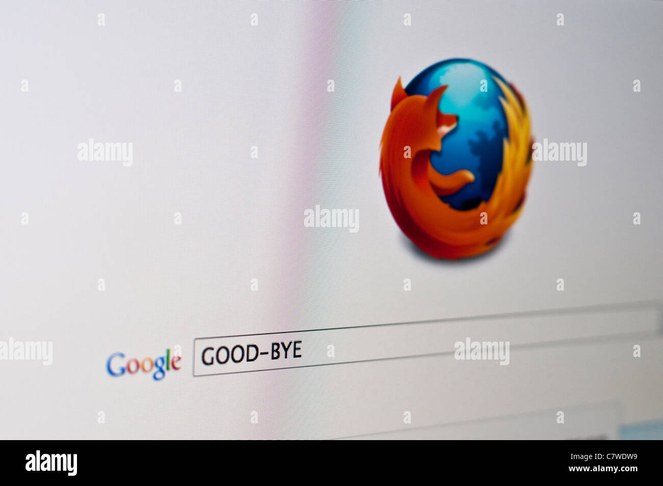 Computer screen with Google search on Firefox browser for Good-bye - Stock Image